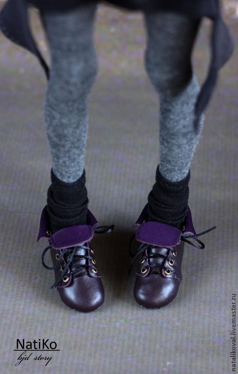 Одежда для кукол ручной работы. Ярмарка Мастеров - ручная работа. Купить Ботиночки с отворотами. Handmade. Разноцветный, кукольная обувь, бжд