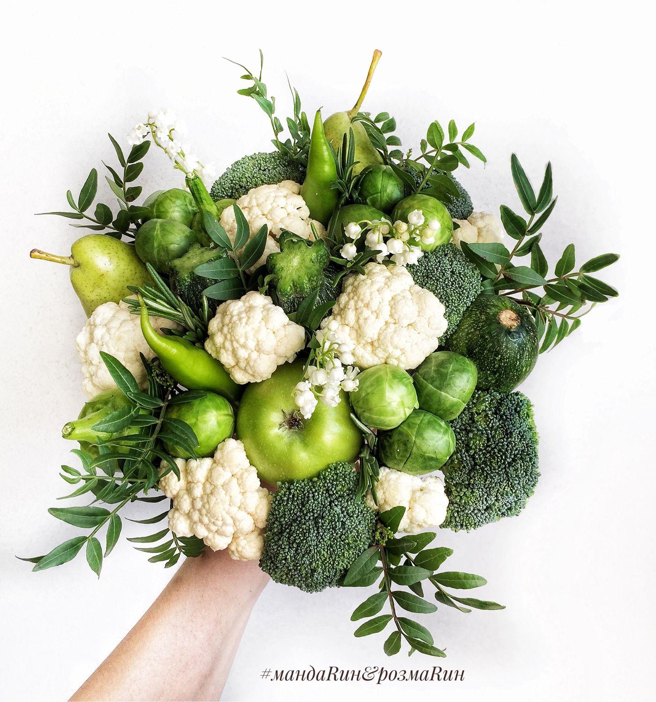 Зеленый букет из овощей, букет