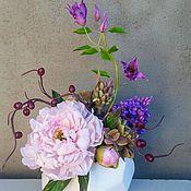 Цветы и флористика ручной работы. Ярмарка Мастеров - ручная работа композиция с розовым пионом. Handmade.