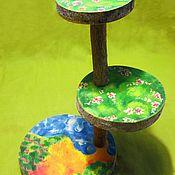 Куклы и игрушки ручной работы. Ярмарка Мастеров - ручная работа 3-х этажная полянка на спилах дерева. Handmade.