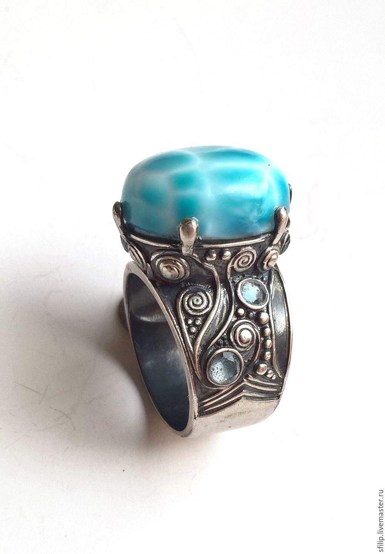 "Кольцо""Boheme"" ларимар,Sky blue топаз,серебро 925, Кольца, Москва, Фото №1"