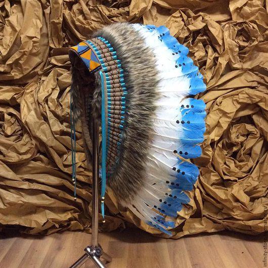 Этническая одежда ручной работы. Ярмарка Мастеров - ручная работа. Купить Индейский головной убор - Облачный День. Handmade. Голубой