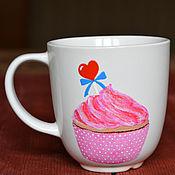 Посуда ручной работы. Ярмарка Мастеров - ручная работа Чашка с розовым кексом. Handmade.