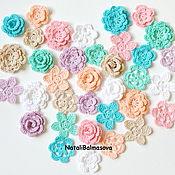 Материалы для творчества handmade. Livemaster - original item Shabby knitted flowers in the set. Handmade.