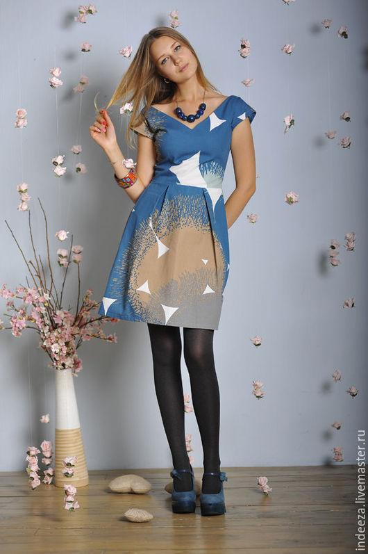 """Платья ручной работы. Ярмарка Мастеров - ручная работа. Купить Платье """"Небо"""". Handmade. Синий, весна"""