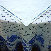 """Для дома и интерьера ручной работы. Ярмарка Мастеров - ручная работа Скатерть """"Гжель"""" с салфеткой. Handmade."""