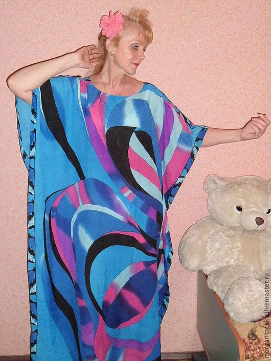 """Большие размеры ручной работы. Ярмарка Мастеров - ручная работа. Купить """"Яркая графика"""" пляжное платье длинное. Handmade."""
