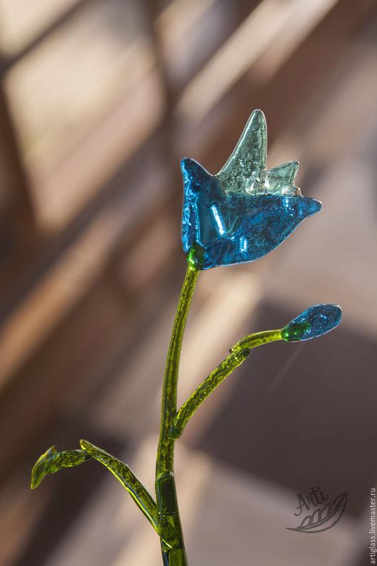 Элементы интерьера ручной работы. Ярмарка Мастеров - ручная работа. Купить Цветок Колокольчик из стекла фьюзинг. Handmade. Голубой