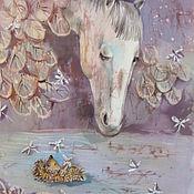 Картины и панно ручной работы. Ярмарка Мастеров - ручная работа Ёжик и лошадка ( батик панно). Handmade.