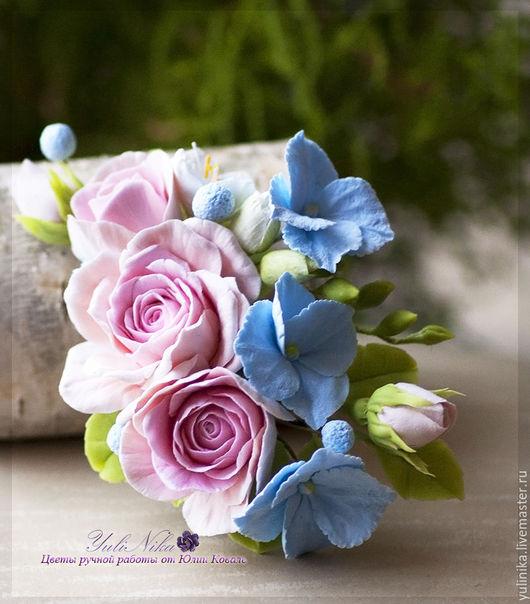 Заколки ручной работы. Ярмарка Мастеров - ручная работа. Купить Заколка с розовыми розами и гортензией. Handmade. Бледно-розовый