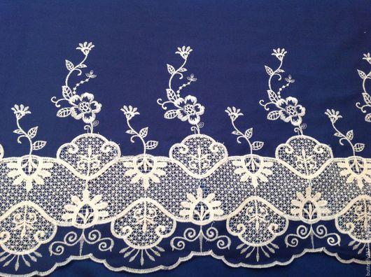 Шитье ручной работы. Ярмарка Мастеров - ручная работа. Купить Ткань деним с вышивкой.. Handmade. Тёмно-синий, вышитая ткань