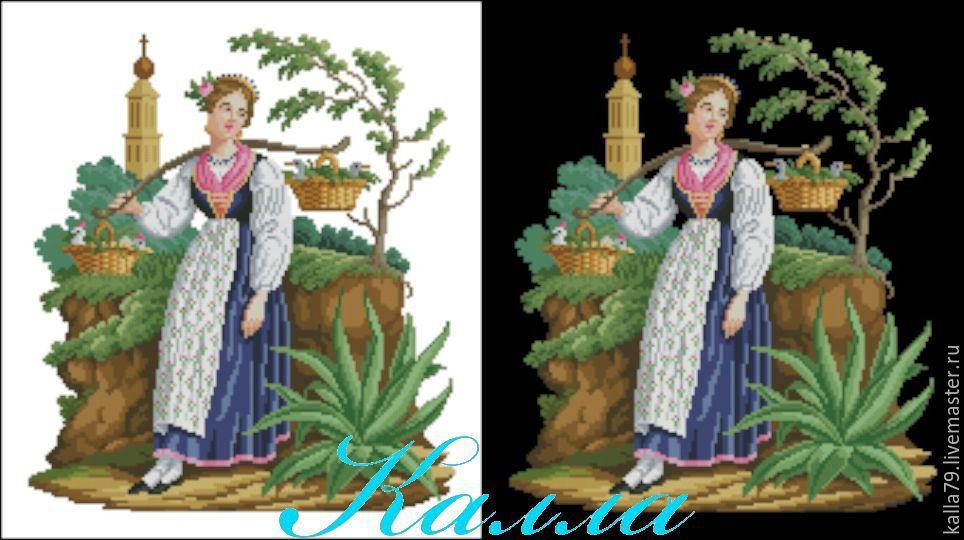Схема вышивки Привал(Девушка с домашней птицей), Схемы для вышивки, Орск,  Фото №1
