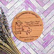 Открытки ручной работы. Ярмарка Мастеров - ручная работа Деревянные свадебные пригласительные круглые. Handmade.