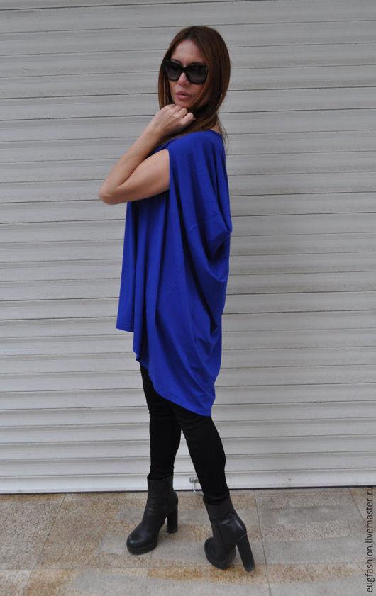 Синяя блузка. Блузка из хлопка. Блузка ручной работы. Блузка свободного кроя.