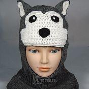 Работы для детей, ручной работы. Ярмарка Мастеров - ручная работа Шапка-шлем Волк вязаная для мальчиков, детская, зимняя. Handmade.