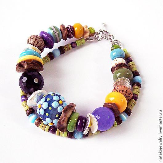 """Браслеты ручной работы. Ярмарка Мастеров - ручная работа. Купить Браслет в этно стиле """"Первоцветы"""". Handmade. Двойной браслет, голубой"""