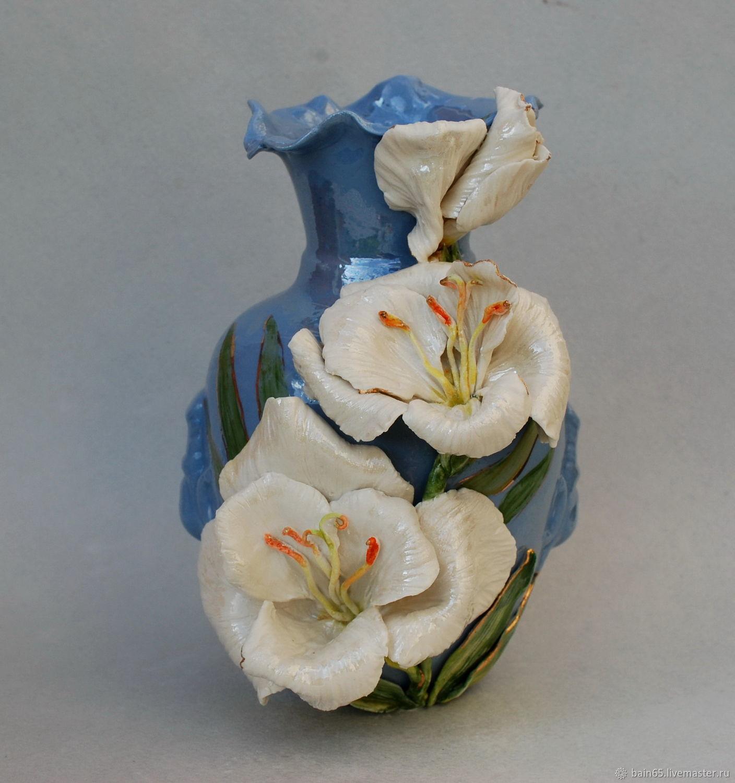 'White gladiolus'. Porcelain vase, Vases, Moscow,  Фото №1