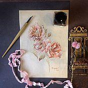 """Картины и панно ручной работы. Ярмарка Мастеров - ручная работа Рисунок пером """"Розочки"""".. Handmade."""