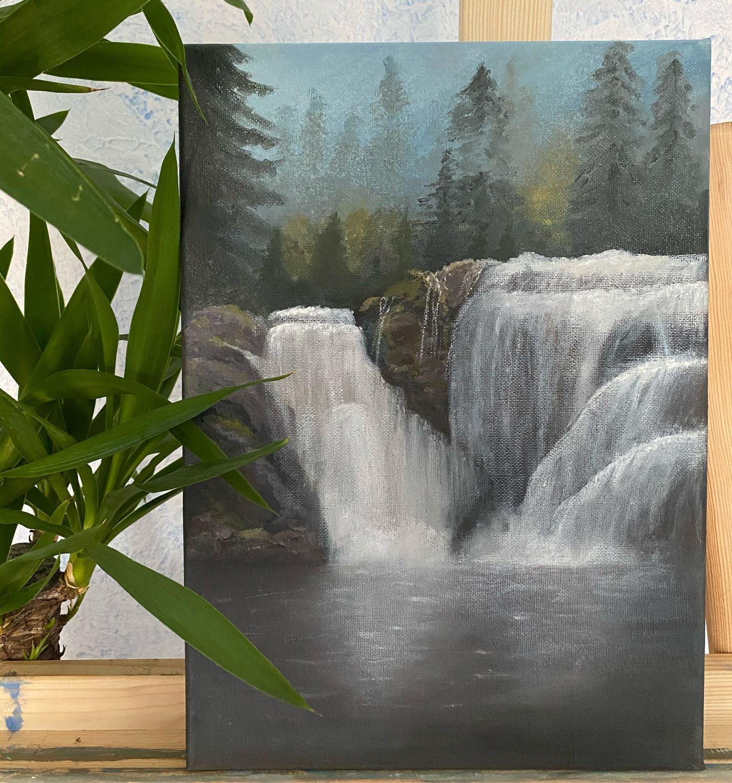 Картина маслом «Водопад умиротворения», пейзаж, лесной пейзаж, Картины, Подольск,  Фото №1