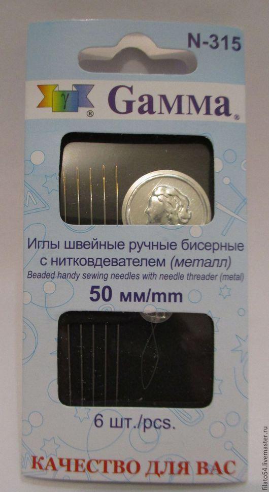 Набор бисерных игл с нитковдевателем  Gamma, Россия N-315