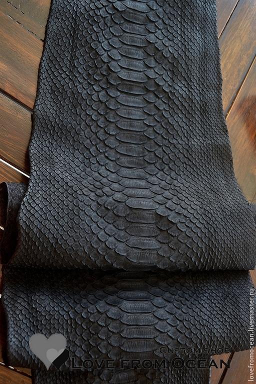 """Шитье ручной работы. Ярмарка Мастеров - ручная работа. Купить Кожа питона """"Black"""". Handmade. Черный, шкура питона"""