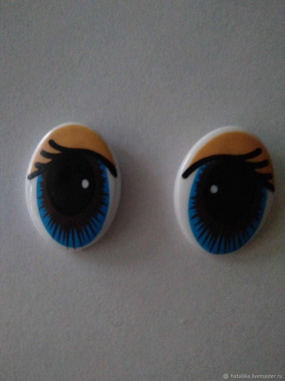 Глазки для игрушек рисованные овальные Г29-12 голубые с коричневым, Фурнитура, Мытищи, Фото №1