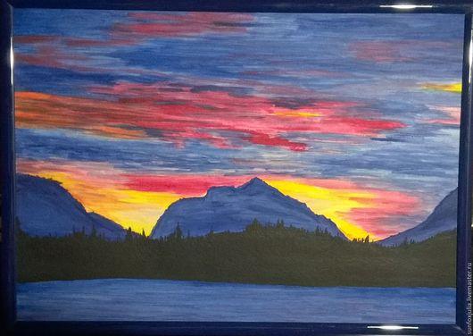 Пейзаж ручной работы. Ярмарка Мастеров - ручная работа. Купить Вид на озеро и горы. Handmade. Тёмно-синий, краски, кисти