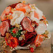 Свадебный салон ручной работы. Ярмарка Мастеров - ручная работа Свадебный брошь букет невесты с суккулентами. Оранжевый и марсала цвет. Handmade.