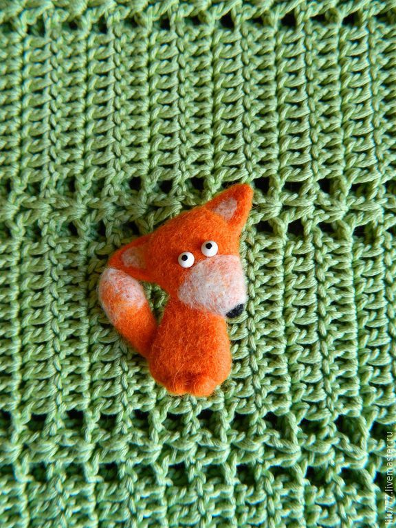 Brooch Fox felted Fox Fox Fox, Brooches, Ufa,  Фото №1