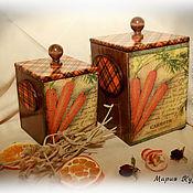 """Для дома и интерьера ручной работы. Ярмарка Мастеров - ручная работа Короба для кухни """"Оранжевое настроение"""" (комплект). Handmade."""