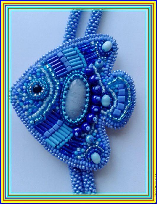Лариаты ручной работы. Ярмарка Мастеров - ручная работа. Купить Лариат+Брошка-рыба. Handmade. Голубой, бисер чешский