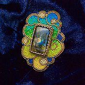Украшения handmade. Livemaster - original item Brooch with labradorite bead and thread embroidered. Handmade.