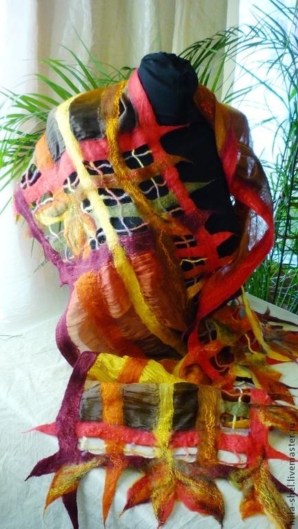"""Шарфы и шарфики ручной работы. Ярмарка Мастеров - ручная работа. Купить шарф в технике нунофелт """"Прозрачной сети паутина.."""".. Handmade."""