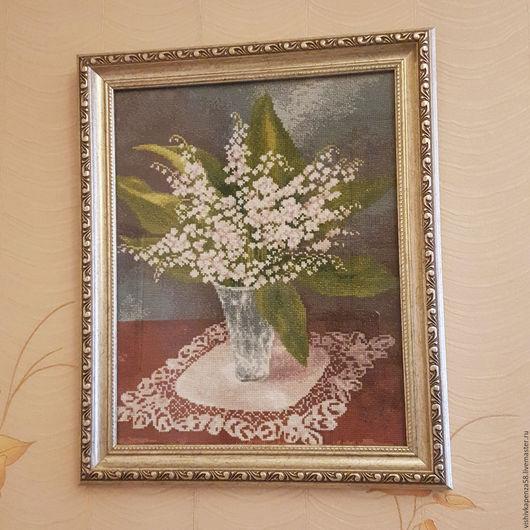 Картины цветов ручной работы. Ярмарка Мастеров - ручная работа. Купить Вышитая картина Ландыши. Handmade. Комбинированный, вышивка на заказ
