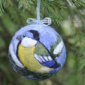 """Подарки к праздникам ручной работы. Ярмарка Мастеров - ручная работа """"Синица"""" елочный шар. Handmade."""