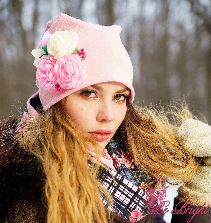 """Комплект """"Цветочно-пудровый"""", Шапки, Уфа, Фото №1"""