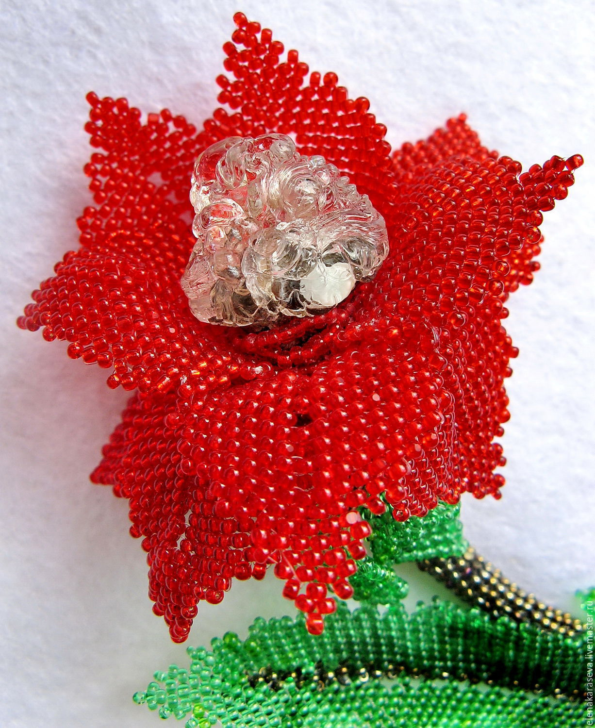 """Brooch """"The Scarlet Flower"""" Bead with hyalite, Brooches, Moscow,  Фото №1"""