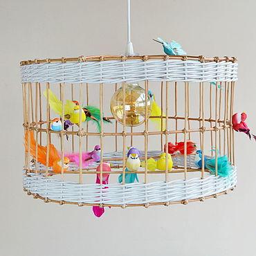"""Освещение ручной работы. Ярмарка Мастеров - ручная работа Плетеная люстра """"Клетка с птичками"""". Handmade."""