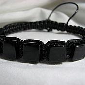 Украшения handmade. Livemaster - original item Men`s Shamballa bracelet made of black agate