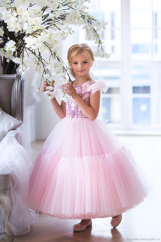 Одежда для девочек, ручной работы. Ярмарка Мастеров - ручная работа. Купить Платье из фатина на выпускной в пол для девочки Pink blossom. Handmade.