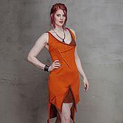 Одежда handmade. Livemaster - original item S_013 Knitted crochet dress with kangaroo pocket, color orange/black. Handmade.