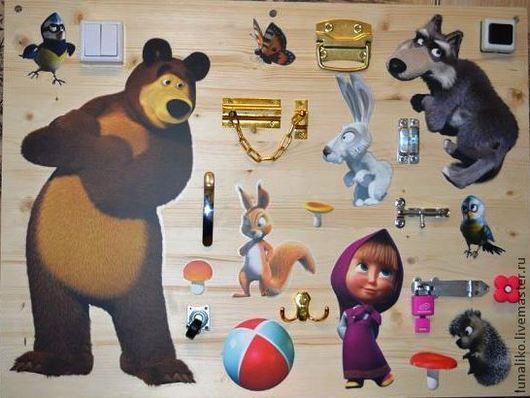 """Детская ручной работы. Ярмарка Мастеров - ручная работа. Купить Развивающая доска """"Маша и медведь"""". Handmade. Белый, развивающая игрушка"""