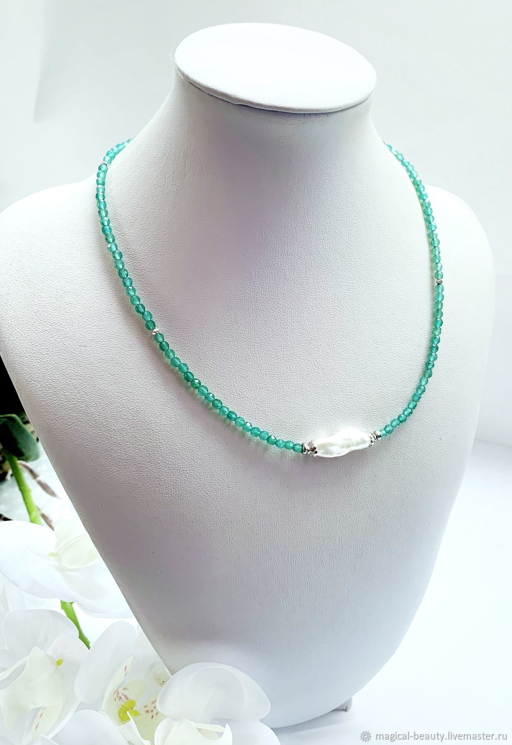 Choker with chrysoprase and natural pearls, Necklace, Moscow,  Фото №1