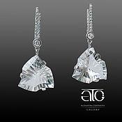 Украшения handmade. Livemaster - original item Earrings with clear quartz and CZ. 925 sterling silver.. Handmade.