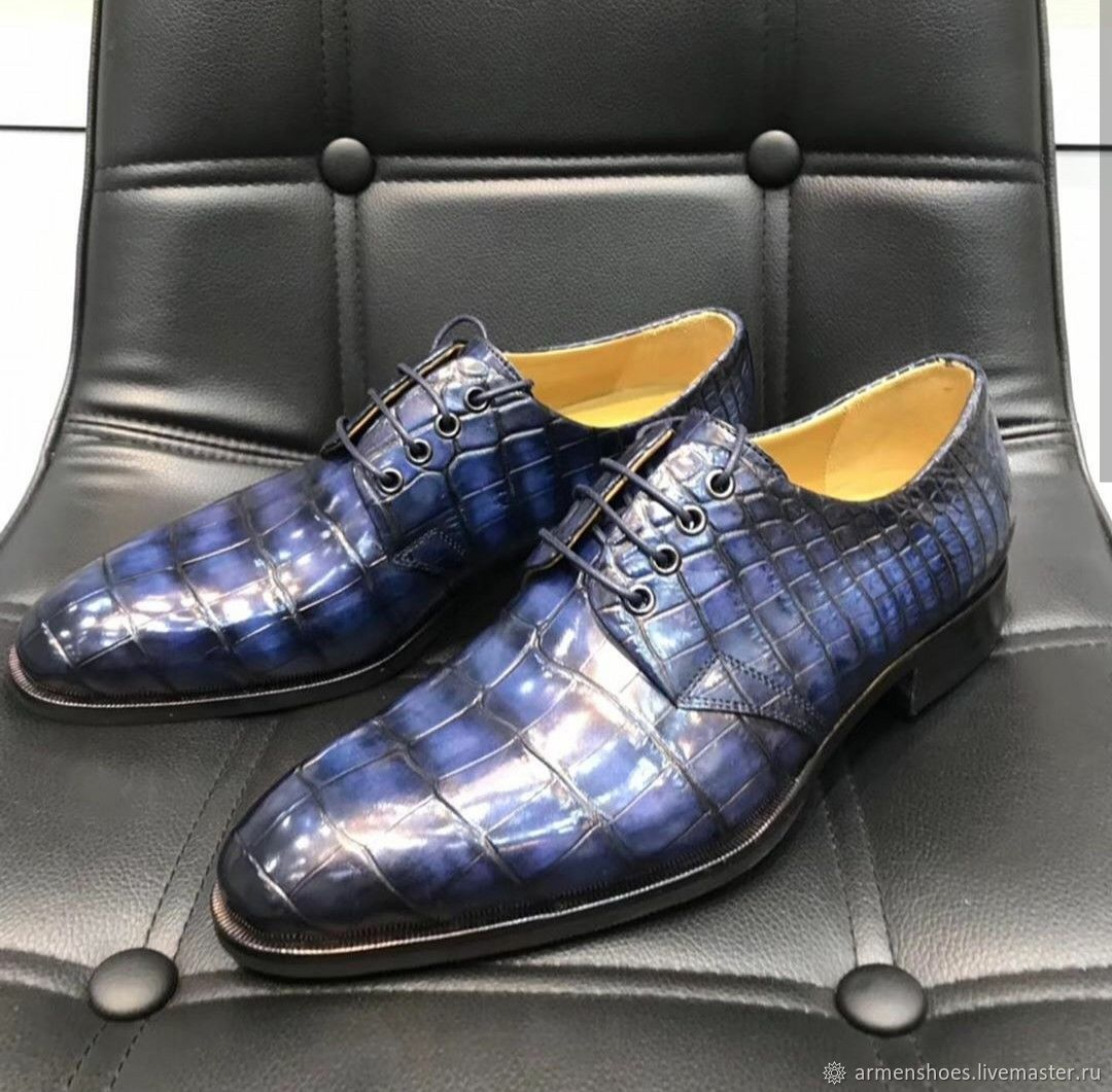 Men's crocodile leather shoes in dark blue, Shoes, Tosno,  Фото №1