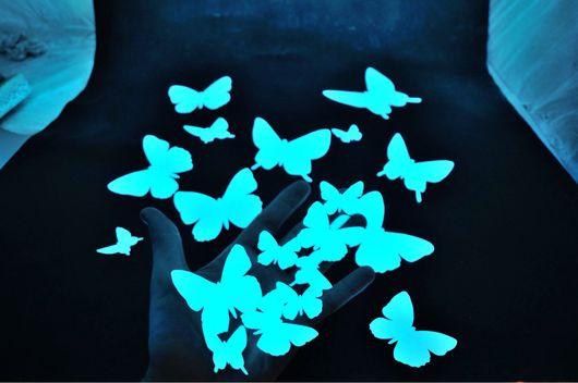 Детская ручной работы. Ярмарка Мастеров - ручная работа. Купить Светящиеся виниловые наклейки - Юные бабочки. Handmade. Светящиеся, лак