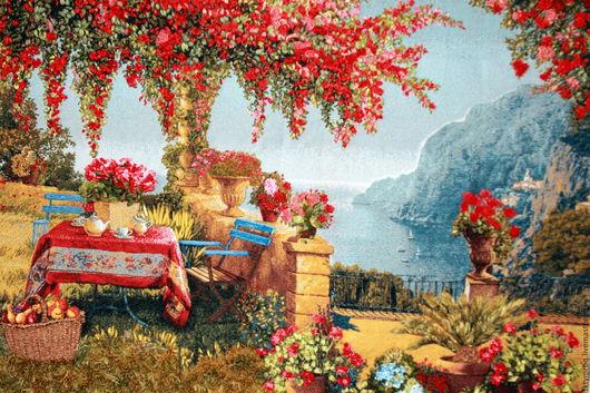 Пейзаж ручной работы. Ярмарка Мастеров - ручная работа. Купить Картина  Ривьера. В тени Вышивка лентами.. Handmade. пейзажи