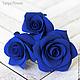 Заколки ручной работы. Ярмарка Мастеров - ручная работа. Купить Набор шпилек с розами - Синие (3 шт). Handmade.