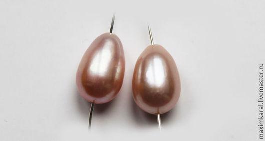Для украшений ручной работы. Ярмарка Мастеров - ручная работа. Купить Пара на серьги розовые жемчужные капли 8Х12 мм. арт 13283. Handmade.