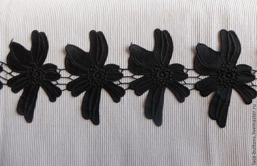 Шитье ручной работы. Ярмарка Мастеров - ручная работа. Купить Тесьма Черные цветы 15см. Handmade. Черный, тесьма кружевная